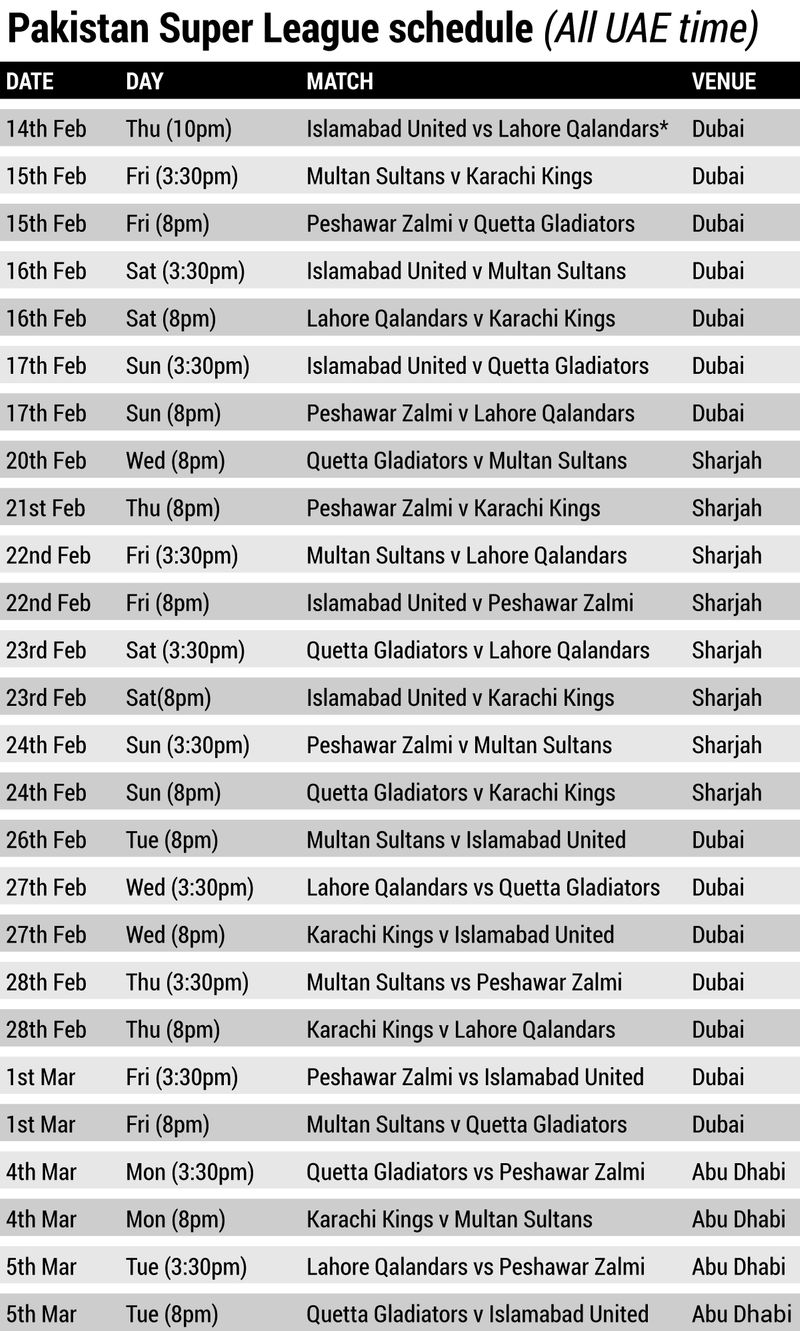 PSL schedule updated