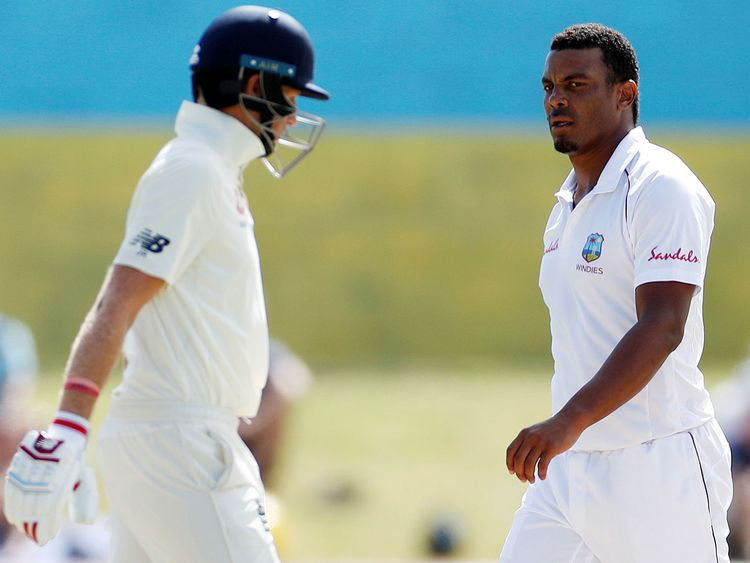 West Indies' Shannon Gabriel and England's Joe Root