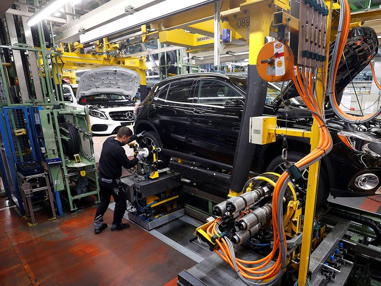 A Mercedes Benz production line in Rastatt, Germany