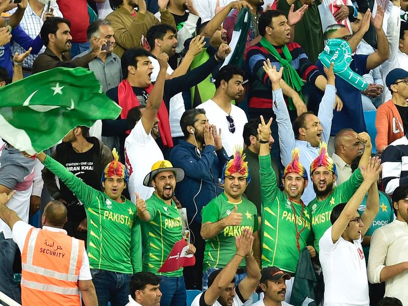 Cricket fans at the Dubai International Cricket Stadium during the PSL opening ceremony.