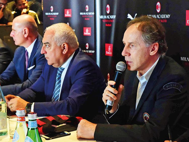 Franco Baresi (right) with senior officials from the AC Milan Academy Dubai