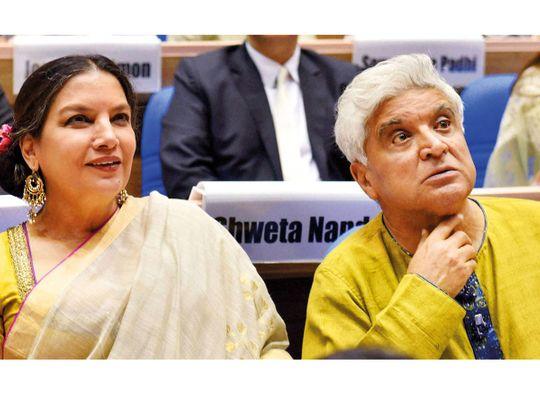 Bollywood lyricist Javed Akhtar with wife actress Shabana Azmi