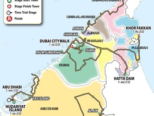 UAE Tour road map