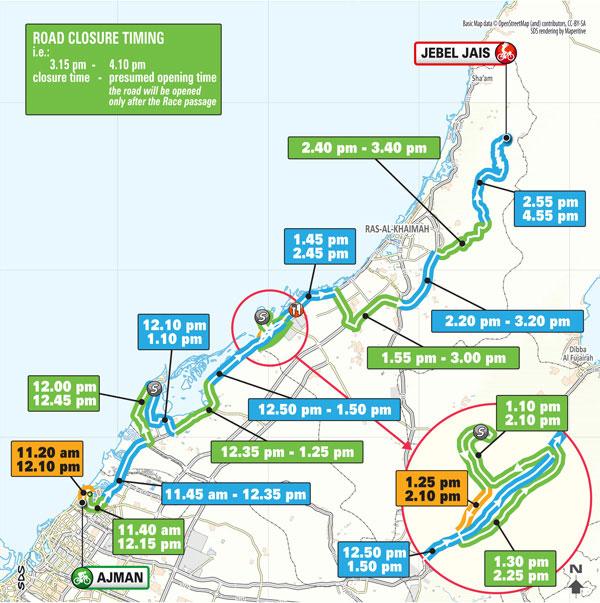 UAE Tour route map Ajman