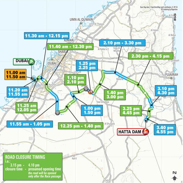 UAE Tour route map Hatta