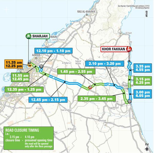 UAE Tour route map Sharjah