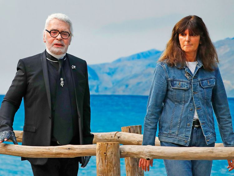 190220 Lagerfeld with Virginie Viard.