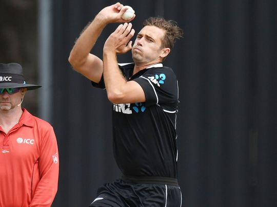 New Zealand's Tim Southee bowls