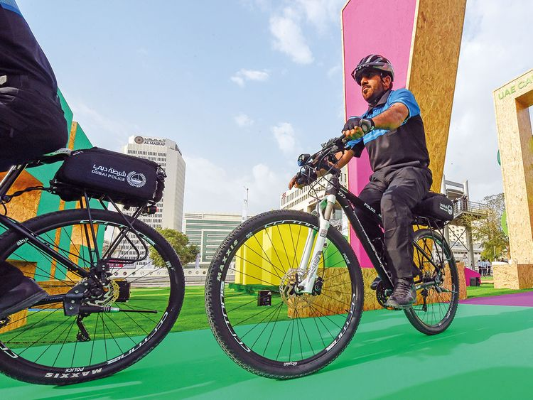 Dubai Police officers on bicycles