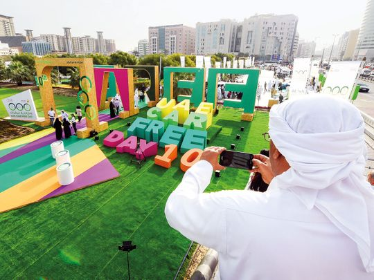 People throng the environmental exhibition