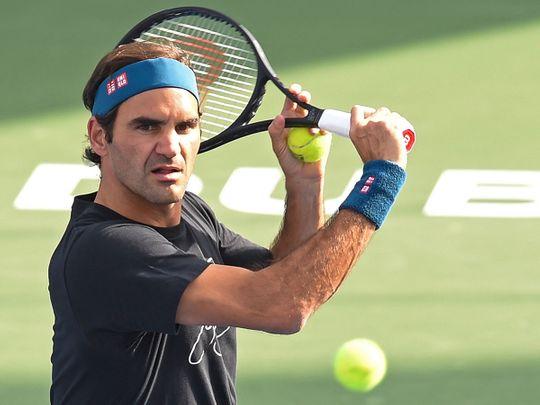 Roger Federer is seen practicing