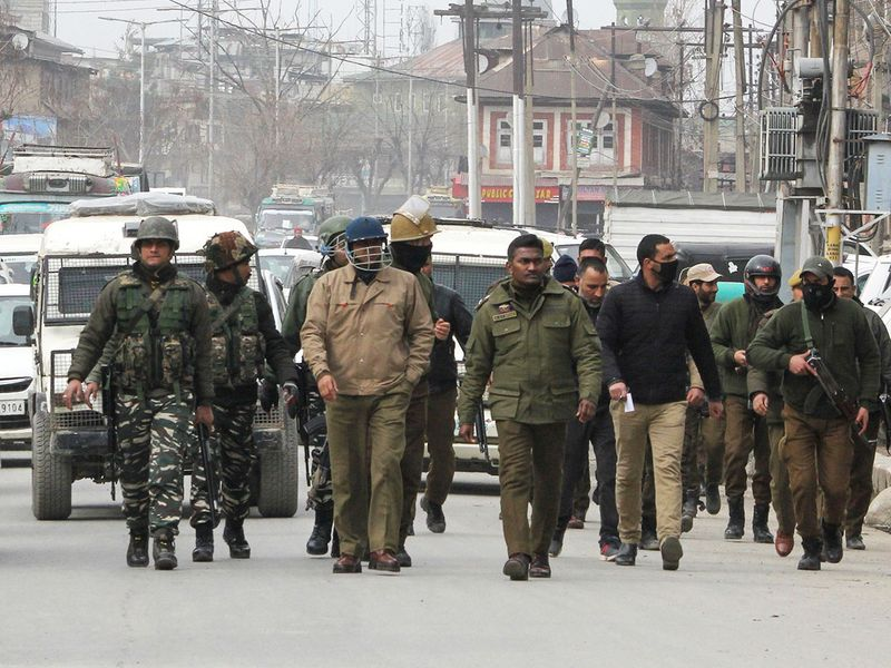 Security forces patrol in Karan Nagar area