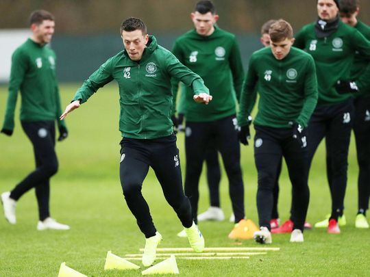 Celtic players are seen during training.