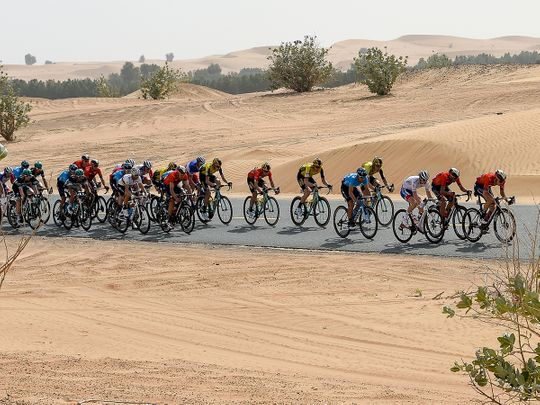 Cyclists pass Nazwa area in Sharjah
