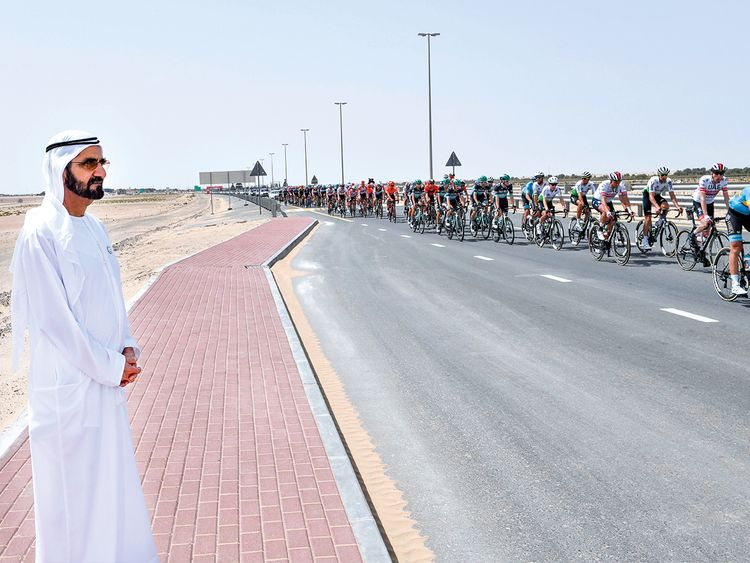 UAE Tour Shaikh Mohammad attends fourth stage of cycling race