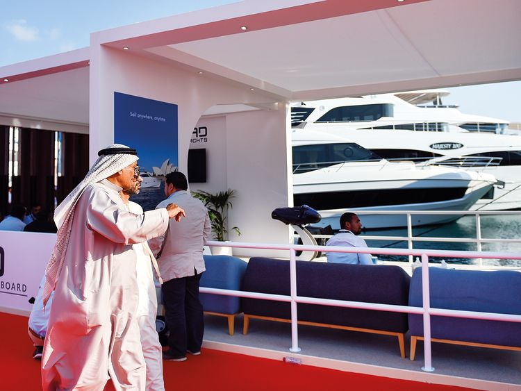 Visitors at the Dubai International Boat Show