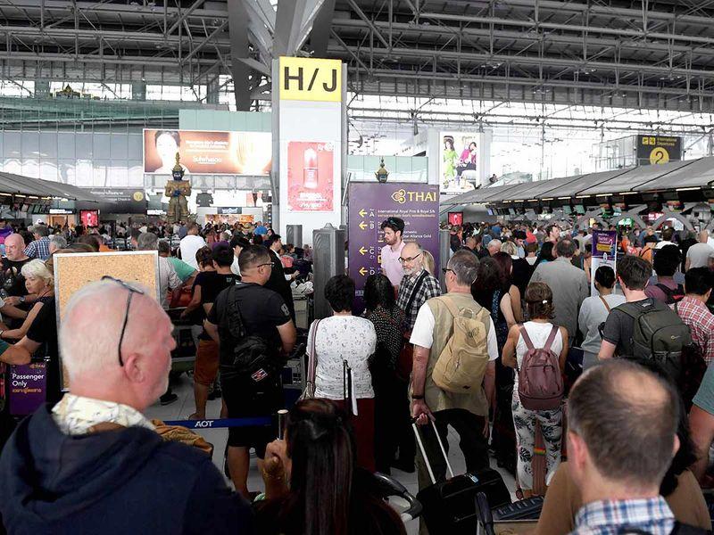 Stranded passengers at the Suvarnabhumi International Airport in Bangkok