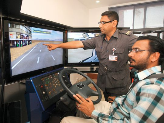 A simulator is used to train heavy vehicle drivers