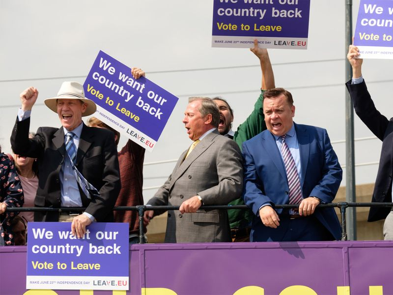 Nigel Farage (Paul Ryan) and Arron Banks (Lee Boardman)