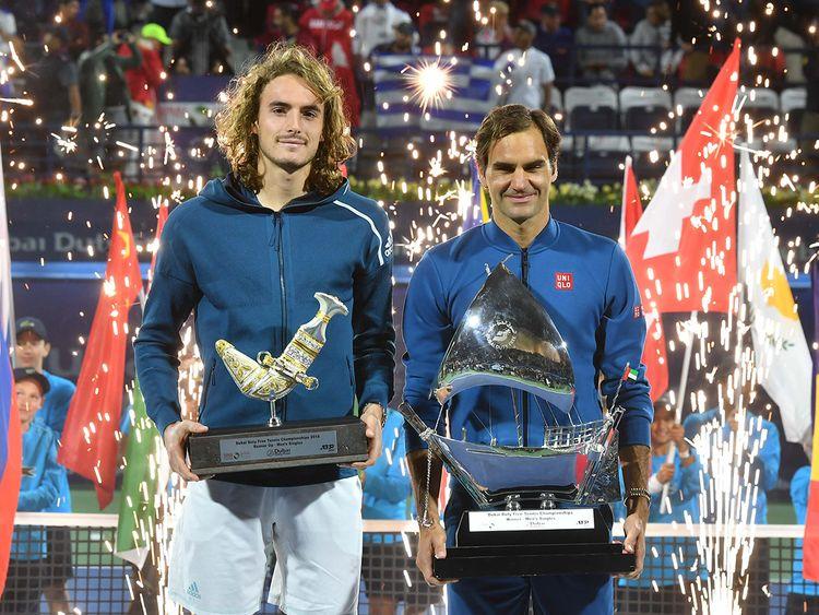 Roger Federer and Stefanos Tsitsipa