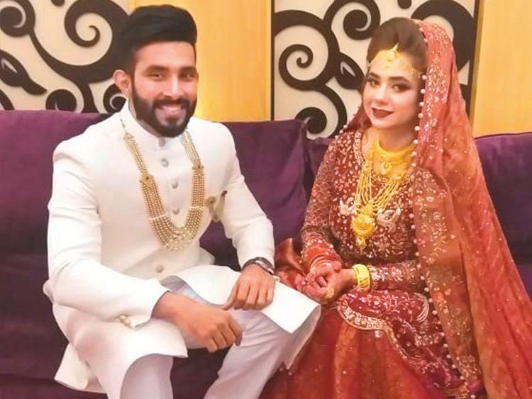 Jai and Habiba during their wedding ceremony in Dubai.