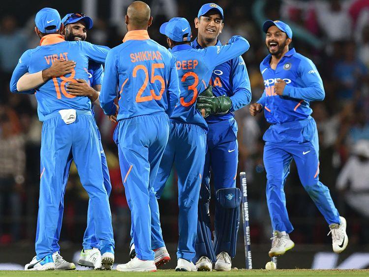 Indian crikceters celebrate