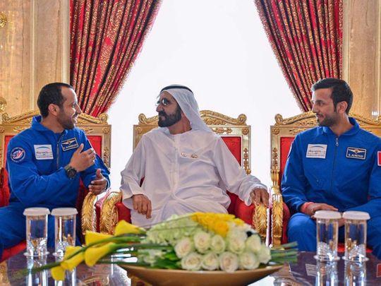 Shaikh Mohammad with UAE astronauts 20190306