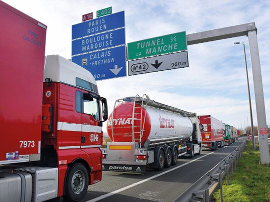 Trucks on the A16 highway between Dunkirk and Calais