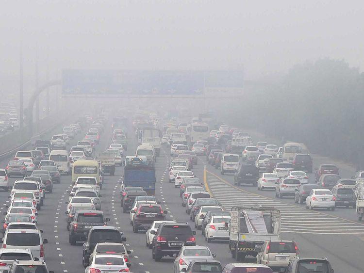 Fog traffic on Shaikh Mohammad Bin Zayed