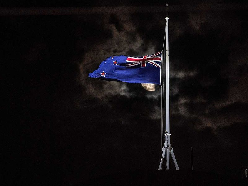 New Zealand national flag is flown at half-mast 20190315