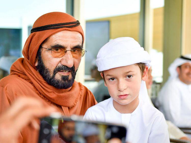 Shaikh Mohammad with son Shaikh Zayed