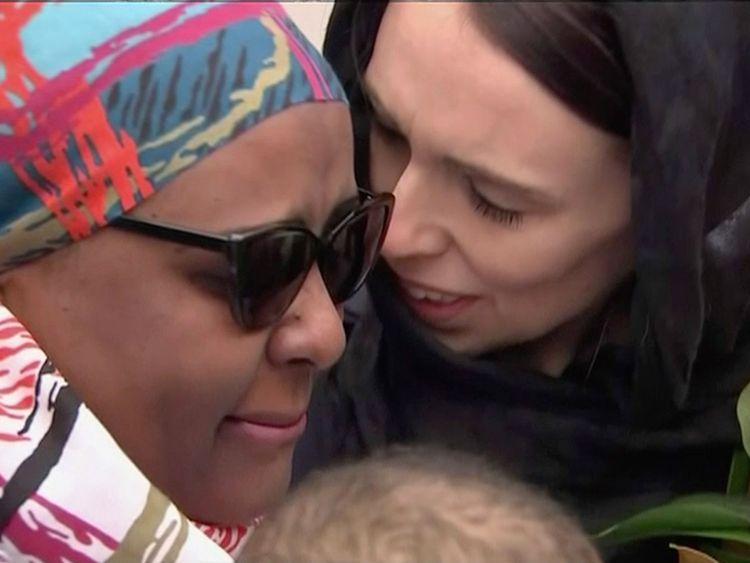 Jacinda Ardern with mourner