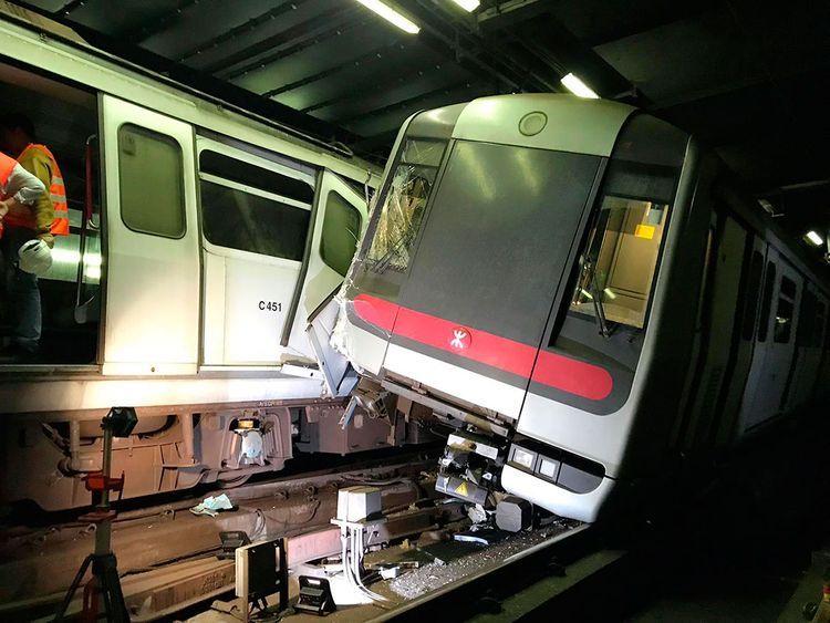 Two MTR trains