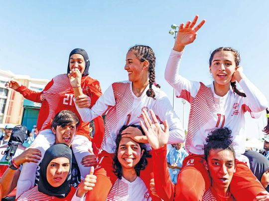 UAE-women's--team-2-celebrate-their-gold-medal-winning-perfromance-in-7-a-side-(Read-Only)