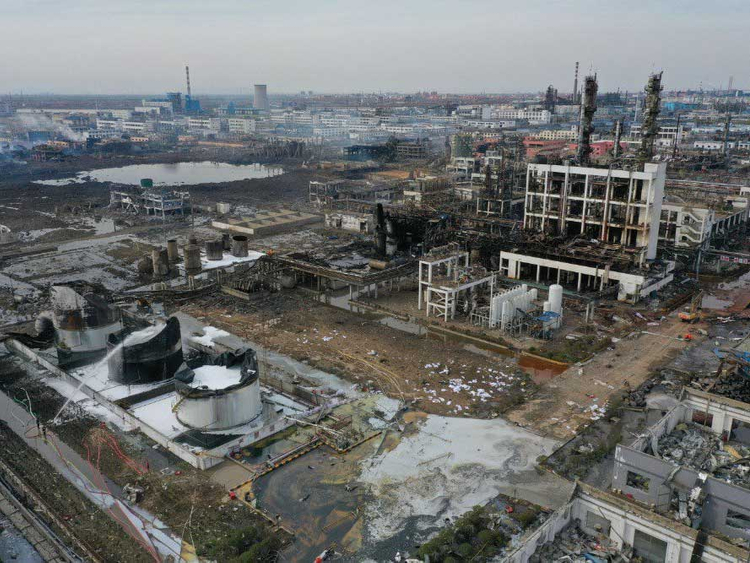 Death toll from a chemical plant explosion in Xiangshui County