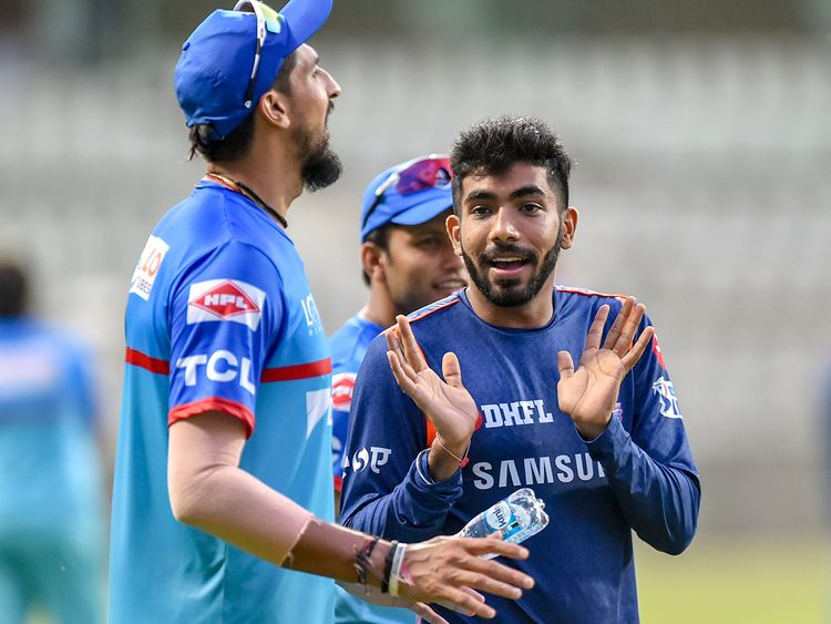 Delhi Capitals player Ishant Sharma (left) and Mumbai Indians player Jasprit Bumrah