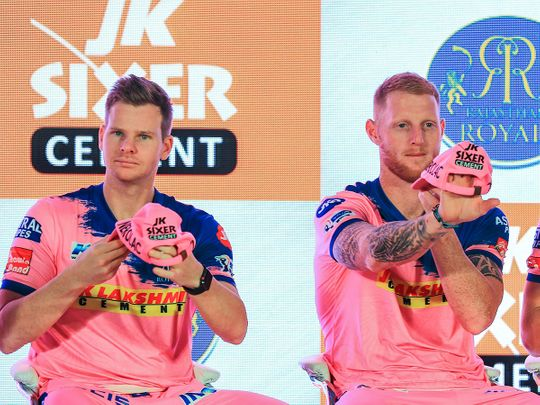 Rajasthan Royals players Steve Smith and Ben Stokes