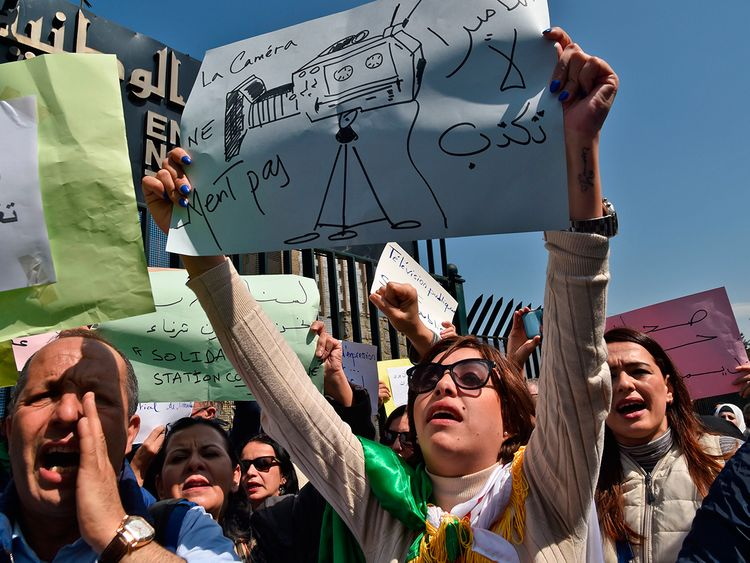 Algerian journalists take part in a demonstration