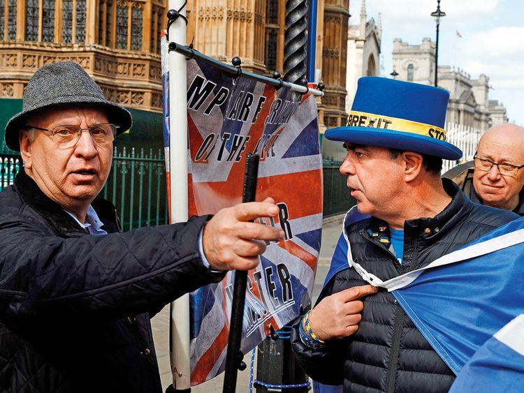 Anti-Brexit campaigner Steve Bray (2nd R) and a pro-Brexit supporter