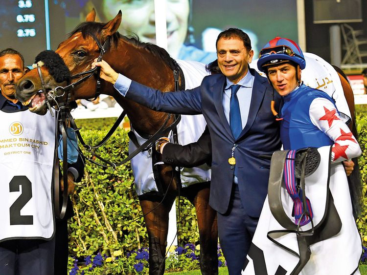 Owner Nabil Mourad and jockey Christophe Soumillon with African Ride