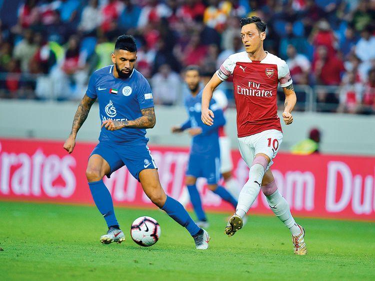 Ronnie Fernandez scores a goal for Al Nasr against Arsenal
