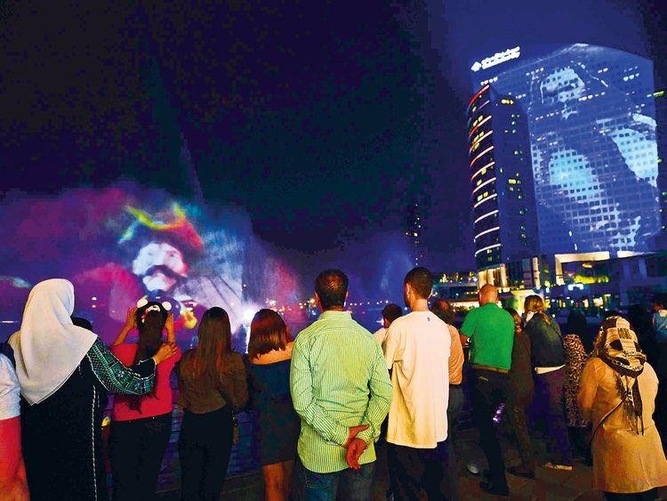 A light and sound show at Dubai Festival City