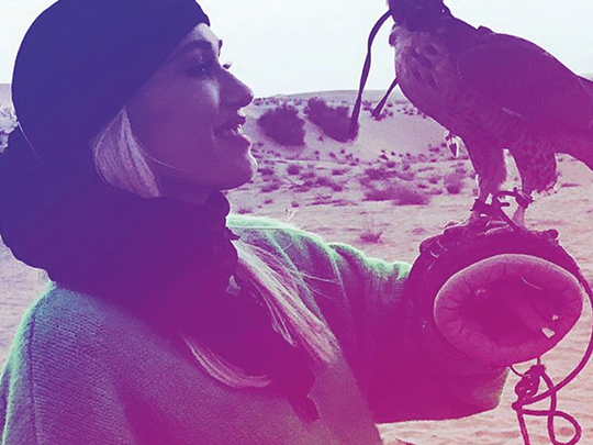 Gwen Stefani bonds with the wildlife in the UAE desert