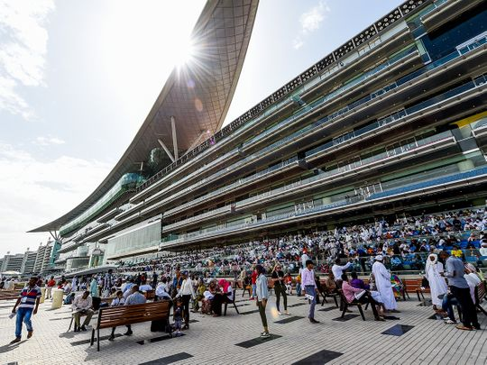 The crowd gathered at Meydan for Dubai World Cup