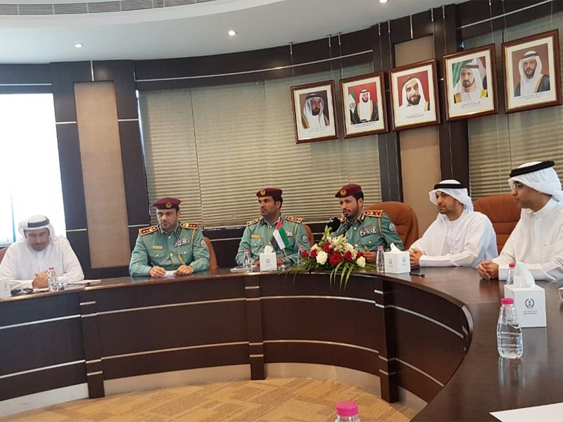 Sharjah Police briefing the media about the robbery