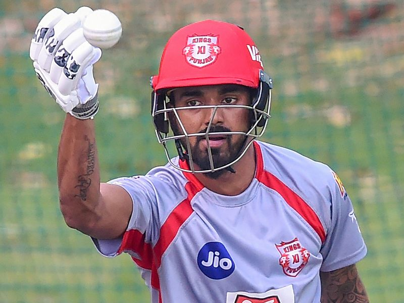Kings XI Punjab's (KXIP) KL Rahul during a practice session
