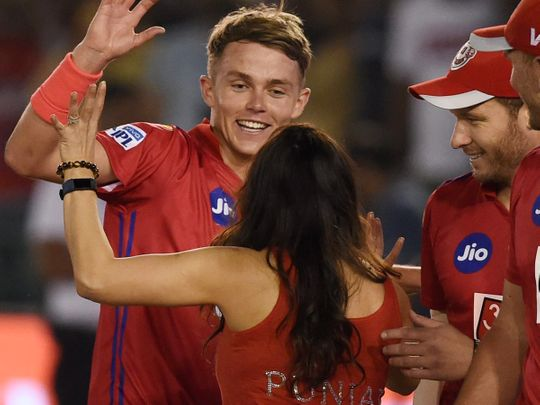 KXIP co-owner Preity Zinta with bowler Sam Curran