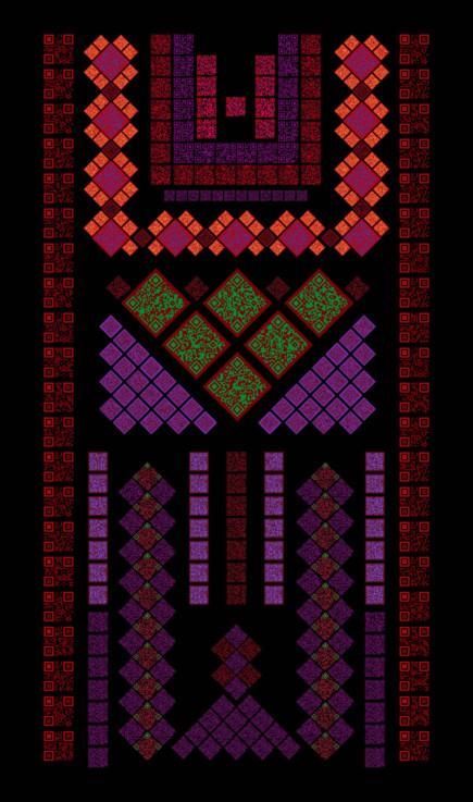 Dress---digital-print-on-fabric-by-Sulafa-Hijazi---composed-of-readable-QR-codes-1554289852266
