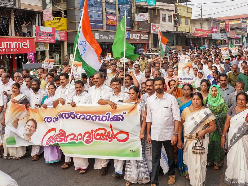 United Democratic Front (UDF) workers participate in a rally