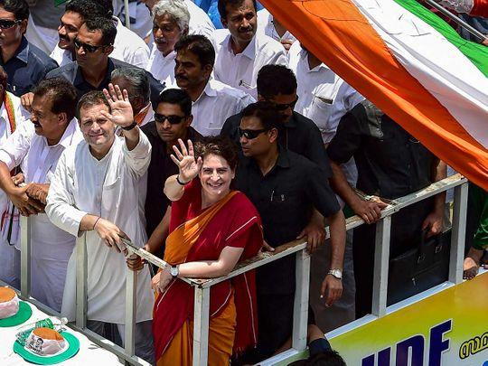 Congress President Rahul Gandhi with Priyanka Gandhi Vadra 20190404